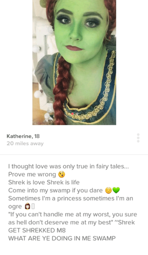 """shrek is life: Katherine, 18  20 miles away  l thought love was only true in fairy tales  Prove me wrong  Shrek is love Shrek is life  Come into my swamp if you dare  Sometimes I'm a princess sometimes I'm an  ogre OO  """"If you can't handle me at my worst, you sure  as hell don't deserve me at my best"""" NShrek  GET SHREKKED M8  WHAT ARE YE DOING IN ME SWAMP"""