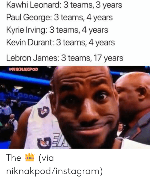 Instagram, Kevin Durant, and Kyrie Irving: Kawhi Leonard: 3 teams, 3 years  Paul George: 3 teams, 4 years  Kyrie Irving: 3 teams, 4 years  Kevin Durant: 3 teams, 4 years  Lebron James: 3 teams, 17 years  NIKNAKPOD The 👑 (via niknakpod/instagram)
