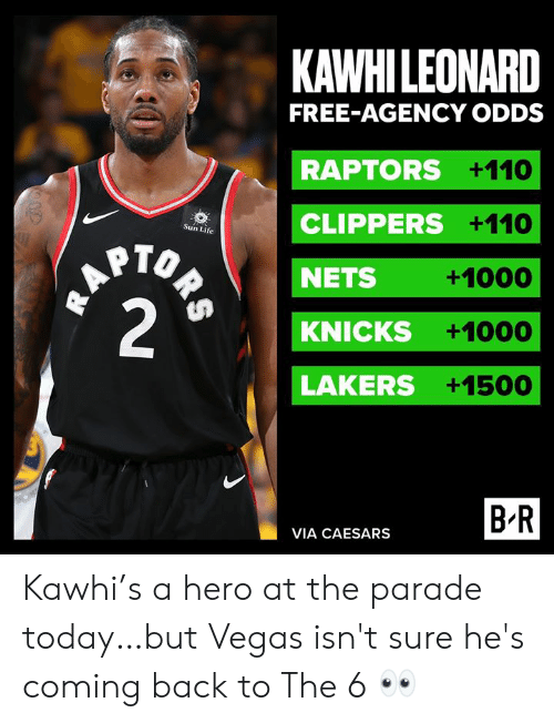 New York Knicks, Los Angeles Lakers, and Life: KAWHILEONARD  FREE-AGENCY ODDS  RAPTORS +110  CLIPPERS +110  Sun Life  HAPTO  2  NETS  +1000  KNICKS  +1000  LAKERS +1500  B R  VIA CAESARS  ORS Kawhi's a hero at the parade today…but Vegas isn't sure he's coming back to The 6 👀