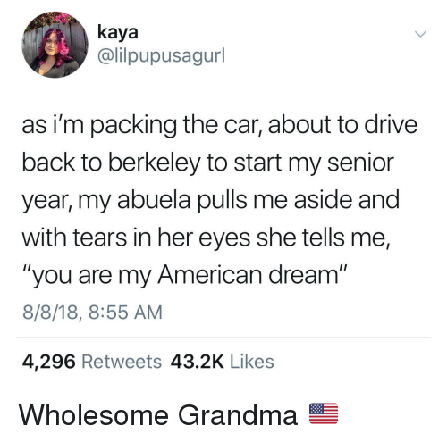 """kaya: kaya  @lilpupusagurl  as i'm packing the car, about to drive  back to berkeley to start my senior  year, my abuela pulls me aside and  with tears in her eyes she tells me,  """"you are my American dream""""  8/8/18, 8:55 AM  4,296 Retweets 43.2K Likes Wholesome Grandma 🇺🇸"""
