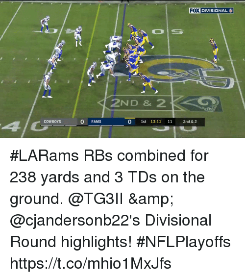 Dallas Cowboys, Memes, and Rams: KDE DIVISIONAL  2ND & 2  COWBOYS  0 RAMS  0 1st 13:11 11 2nd & 2 #LARams RBs combined for 238 yards and 3 TDs on the ground.  @TG3II & @cjandersonb22's Divisional Round highlights! #NFLPlayoffs https://t.co/mhio1MxJfs