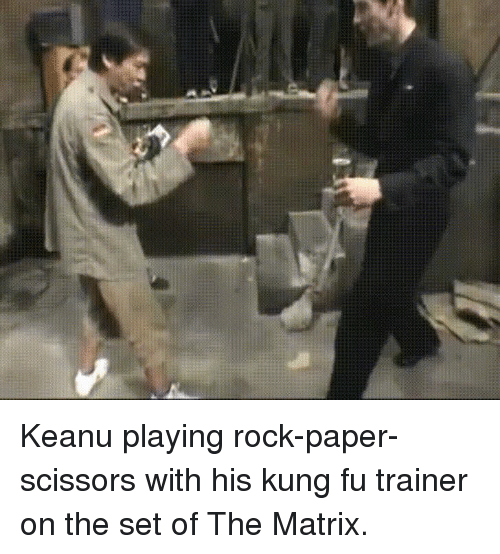 Funny, The Matrix, and Matrix: Keanu playing rock-paper-scissors with his kung fu trainer on the set of The Matrix.