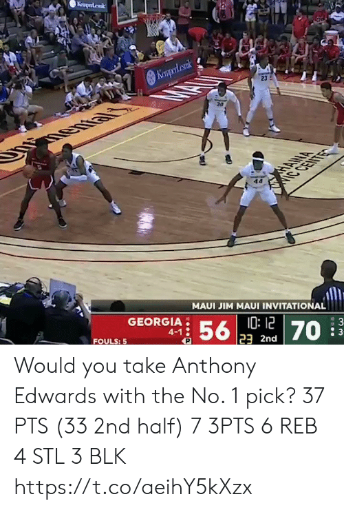 Anthony: Keaperdak  Kempol cank  23  30  HANA  IC CENTE  MAUI JIM MAUI INVITATIONAL  GEORGIA  10:12  23 2nd  56  4-1  : 3  70  FOULS: 5 Would you take Anthony Edwards with the No. 1 pick?   37 PTS (33 2nd half)  7 3PTS 6 REB 4 STL 3 BLK    https://t.co/aeihY5kXzx
