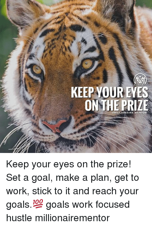 Goals, Memes, and Work: KEEPYOUR EVES  ON THE PRIZE  MILLIONAIREMENTOR  - Keep your eyes on the prize! Set a goal, make a plan, get to work, stick to it and reach your goals.💯 goals work focused hustle millionairementor