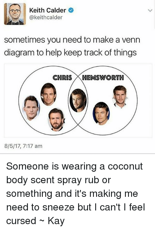 calder: Keith Calder  @keithcalder  sometimes you need to make a venn  diagram to help keep track of things  CHRIS K HEMSWORTH  8/5/17, 7:17 am Someone is wearing a coconut body scent spray rub or something and it's making me need to sneeze but I can't I feel cursed ~ Kay