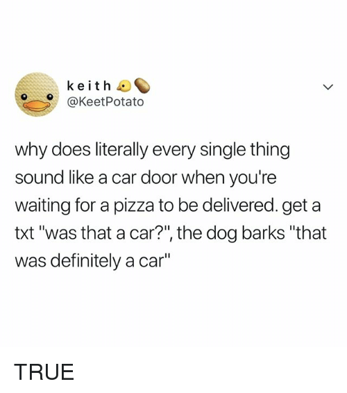 """Definitely, Pizza, and True: keith  @KeetPotato  why does literally every single thing  sound like a car door when you're  waiting for a pizza to be delivered. get a  txt'was that a car?"""", the dog barks """"that  was definitely a car TRUE"""