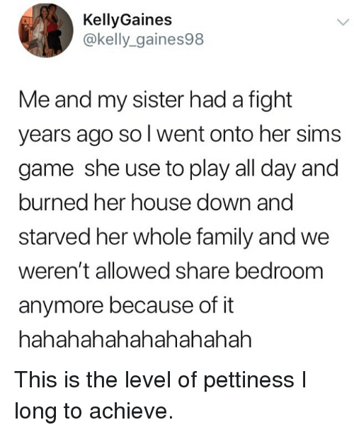 Family, Memes, and Game: KellyGaines  @kelly_gaines98  Me and my sister had a fight  years ago sol went onto her sims  game she use to play all day and  burned her house down and  starved her whole family and we  weren't allowed share bedroom  anymore because of it  hahahahahahahahahah This is the level of pettiness I long to achieve.