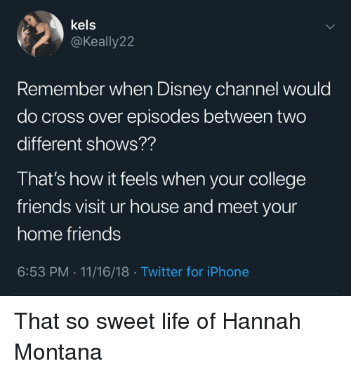 College, Disney, and Friends: kels  @Keally 22  Remember when Disney channel would  do cross over episodes between two  different shows??  That's how it feels when your college  friends visit ur house and meet your  home friends  6:53 PM-11/16/18 Twitter for iPhone That so sweet life of Hannah Montana