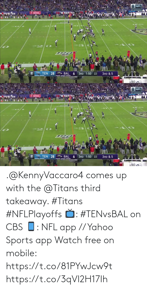 CBS: .@KennyVaccaro4 comes up with the @Titans third takeaway. #Titans #NFLPlayoffs  📺: #TENvsBAL on CBS 📱: NFL app // Yahoo Sports app Watch free on mobile: https://t.co/81PYwJcw9t https://t.co/3qVI2H17Ih