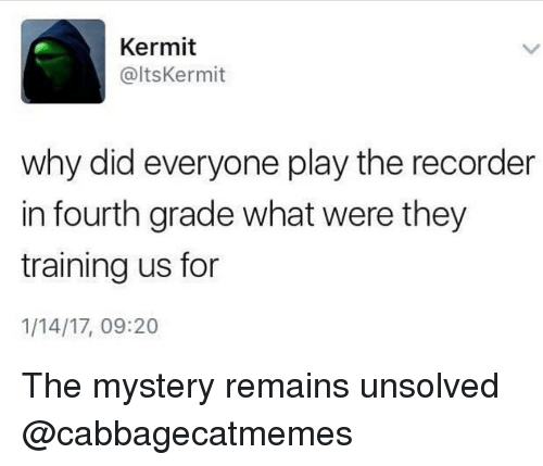 recorder: Kermit  @ltsKermit  why did everyone play the recorder  in fourth grade what were they  training us for  1/14/17, 09:20 The mystery remains unsolved @cabbagecatmemes