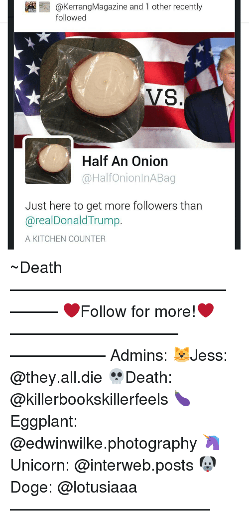 interweb: Kerrang Magazine and 1 other recentl  followed  VS  Half An Onion  @Halfon ion nABag  Just here to get more followers than  realDonald Trump.  A KITCHEN COUNTER ~Death —————————————–——— ❤️Follow for more!❤️ ——————————–—————— Admins: 🐱Jess: @they.all.die 💀Death: @killerbookskillerfeels 🍆Eggplant: @edwinwilke.photography 🦄Unicorn: @interweb.posts 🐶Doge: @lotusiaaa ——————————–——