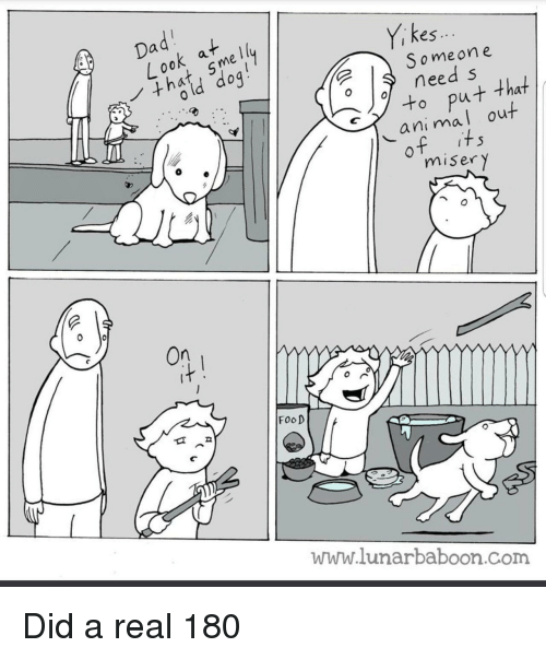 kes: kes  i ..  S omeone  need s  to put that  animal out  misery  On  FooD  www.lunarbaboon.com Did a real 180