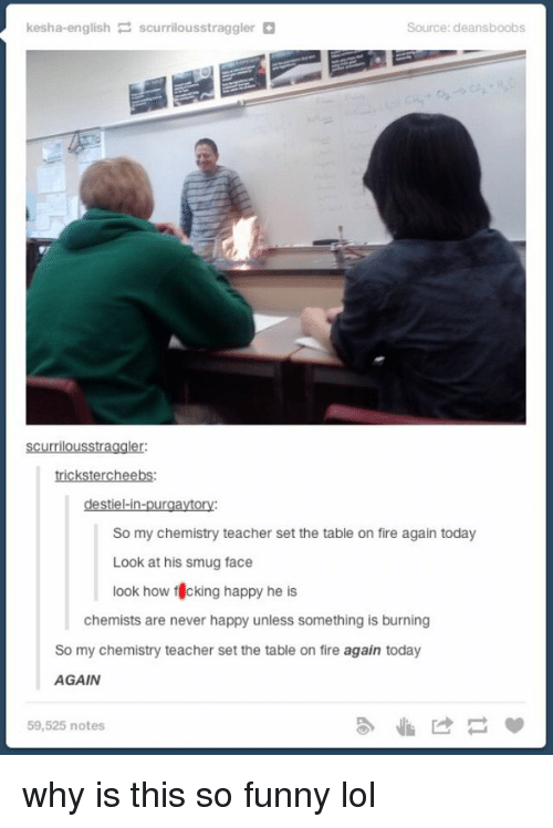 Smug Faces: kesha-english  P scurrilousstraggler  Source: deansboobs  Scurrilousstraggler:  trickstercheebs:  destiel-in-purgaytory:  So my chemistry teacher set the table on fire again today  Look at his smug face  look how f cking happy he  is  chemists are never happy unless something is burning  So my chemistry teacher set the table on fire again today  AGAIN  59,525 notes why is this so funny lol