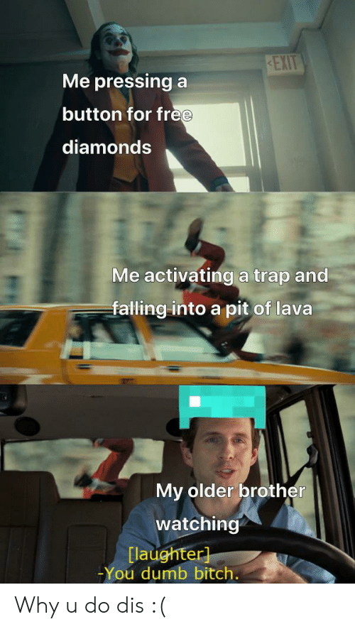 Pressing A Button: KEXIT  Me pressing a  button for free  diamonds  Me activatinga trap and  falling into a pit of lava  My older brother  watching  [laughter]  -You dumb bitch. Why u do dis :(