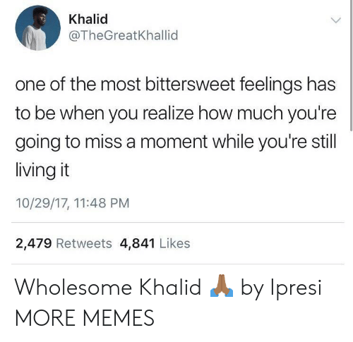 Khalid: Khalid  @TheGreatKhallid  one of the most bittersweet feelings has  to be when you realize how much you're  going to miss a moment while you're still  living it  10/29/17, 11:48 PM  2,479 Retweets 4,841 Likes Wholesome Khalid 🙏🏾 by Ipresi MORE MEMES