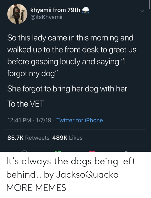 "Dank, Dogs, and Iphone: khyamii from 79th  @itsKhyamii  So this lady came in this morning and  walked up to the front desk to greet us  before gasping loudly and saying ""I  forgot my dog""  She forgot to bring her dog with her  To the VET  12:41 PM 1/7/19 Twitter for iPhone  85.7K Retweets 489K Likes It's always the dogs being left behind.. by JacksoQuacko MORE MEMES"
