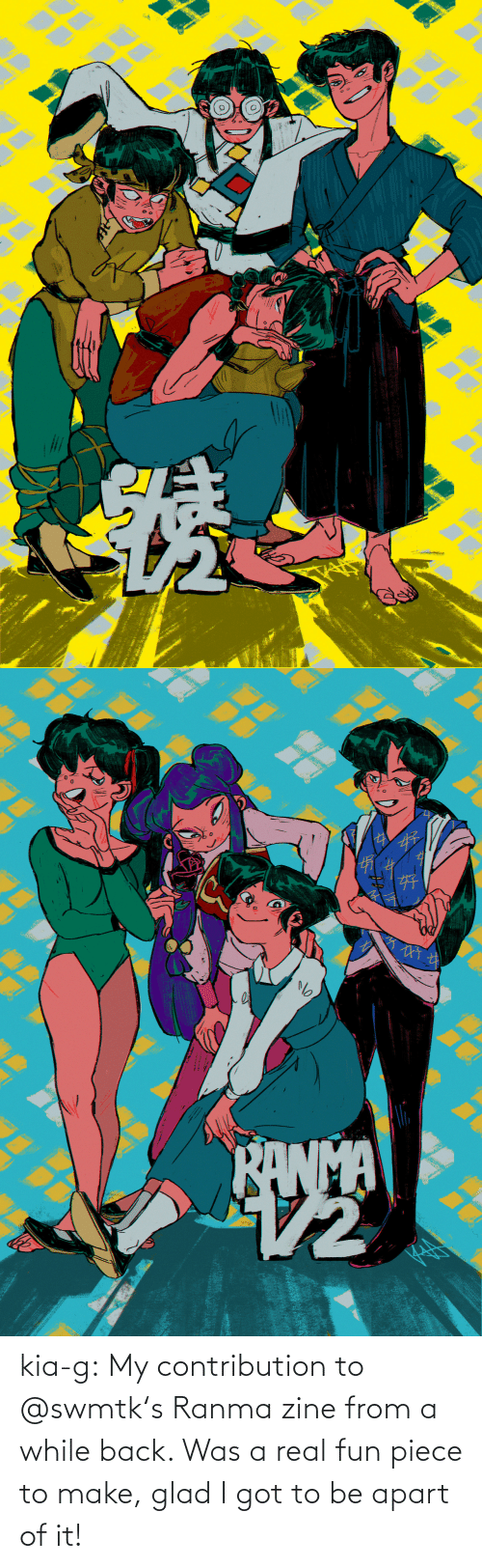 Apart: kia-g:  My contribution to @swmtk's Ranma zine from a while back. Was a real fun piece to make, glad I got to be apart of it!