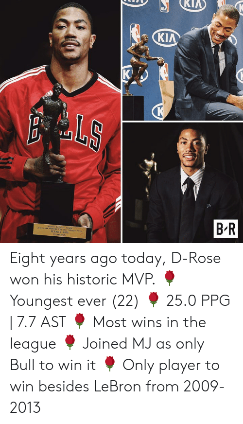 Derrick Rose, Lebron, and Rose: KIA  K)  aluable Faye  DERRICK ROSE Eight years ago today, D-Rose won his historic MVP.  🌹 Youngest ever (22) 🌹 25.0 PPG | 7.7 AST 🌹 Most wins in the league 🌹 Joined MJ as only Bull to win it 🌹 Only player to win besides LeBron from 2009-2013