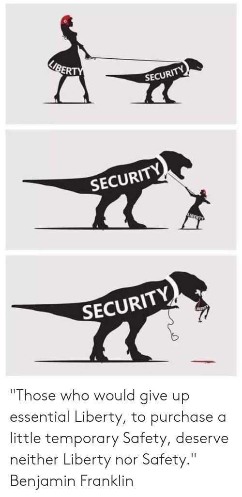 """Deserve Neither: KIBERTY  SECURITY  SECURITY  LIBERTY  SECURITY  LIBER """"Those who would give up essential Liberty, to purchase a little temporary Safety, deserve neither Liberty nor Safety."""" Benjamin Franklin"""