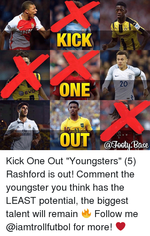 """Memes, 🤖, and One: KICK  ONE  OUT  20  rates  @Jooty Base Kick One Out """"Youngsters"""" (5) Rashford is out! Comment the youngster you think has the LEAST potential, the biggest talent will remain 🔥 Follow me @iamtrollfutbol for more! ❤️"""
