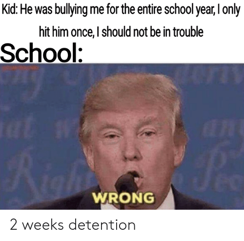School, Once, and Him: Kid: He was bullying me for the entire school year, I only  hit him once, I should not be in trouble  School:  at w  Jec  Aight  WRONG 2 weeks detention