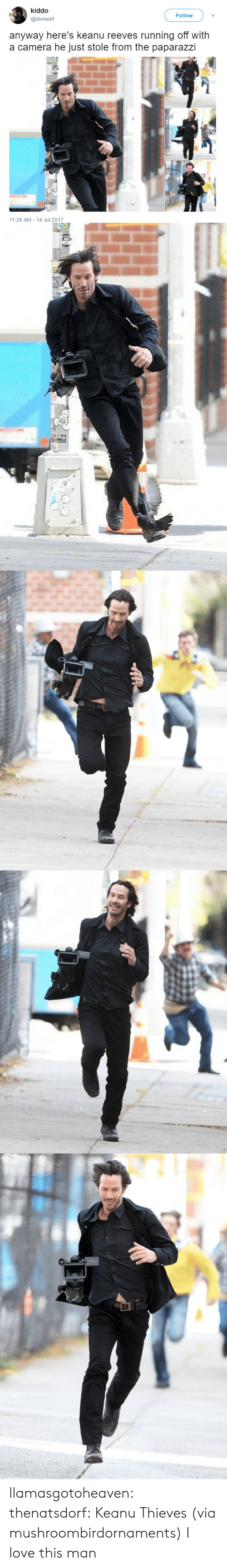 paparazzi: kiddo  @dunwall  Follow  anyway here's keanu reeves running off with  a camera he just stole from the paparazzi  11:28 AM 14 Jul 2017 llamasgotoheaven:  thenatsdorf: Keanu Thieves (via mushroombirdornaments)  I love this man