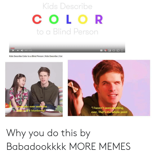 "Describe: Kids Describe  СOLOR  to a Blind Person  0:07/325  Kids Describe Color to a Blind Person | Kids Describe | Cut  Have yeu ever seen the  ""I haven't seen anything,  oloupof a blueberry?  ever, that's the whole point Why you do this by Babadookkkk MORE MEMES"