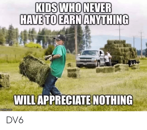 Memes, Kids, and 🤖: KIDS WHONEVER  HAVE TO EARN ANYTHING  WILLAPPRECIATE NOTHING DV6