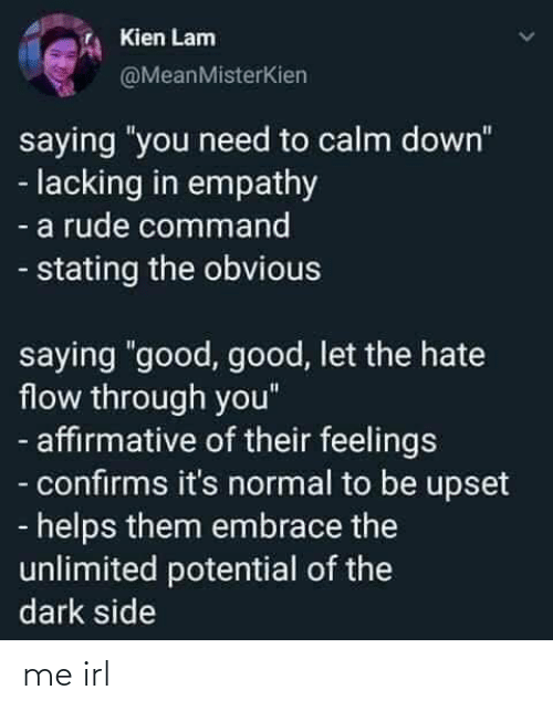 "calm: Kien Lam  @MeanMisterKien  saying ""you need to calm down""  - lacking in empathy  - a rude command  - stating the obvious  saying ""good, good, let the hate  flow through you""  - affirmative of their feelings  - confirms it's normal to be upset  - helps them embrace the  unlimited potential of the  dark side me irl"