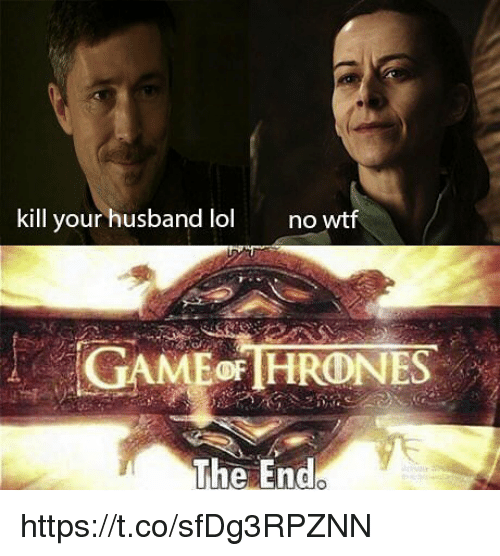 Lol, Memes, and Wtf: kill your husband lol  no  wtf  The End https://t.co/sfDg3RPZNN