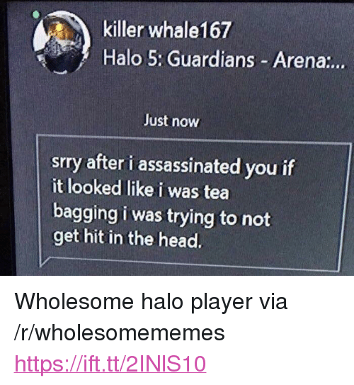 "Halo 5 Guardians: killer whale167  Halo 5: Guardians Arena:..  Just now  srry after i assassinated you if  it looked like i was tea  bagging i was trying to not  get hit in the head. <p>Wholesome halo player via /r/wholesomememes <a href=""https://ift.tt/2INlS10"">https://ift.tt/2INlS10</a></p>"