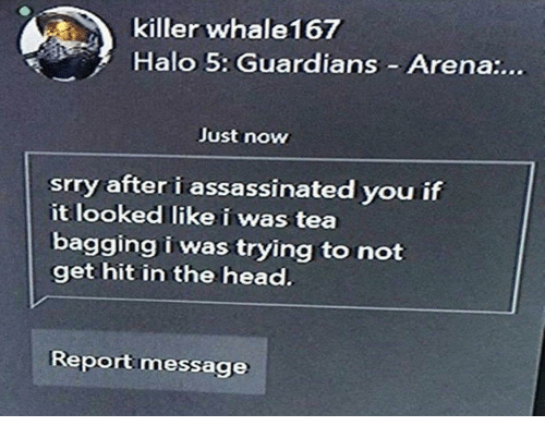 Halo, Head, and Tea: killer whale167  Halo 5: Guardians Arena:...  Just now  srry after i assassinated you if  it looked like i was tea  bagging i was trying to not  get hit in the head.  Reportmessage