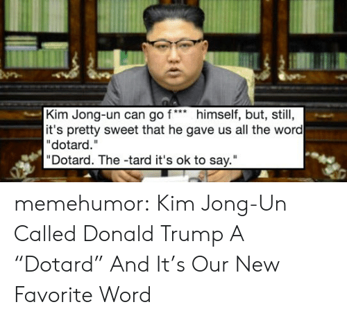 "pretty sweet: Kim Jong-un can go f*himself, but, still,  it's pretty sweet that he gave us all the word  ""dotard.""  ""Dotard. The -tard it's ok to say."" memehumor:  Kim Jong-Un Called Donald Trump A ""Dotard"" And It's Our New Favorite Word"