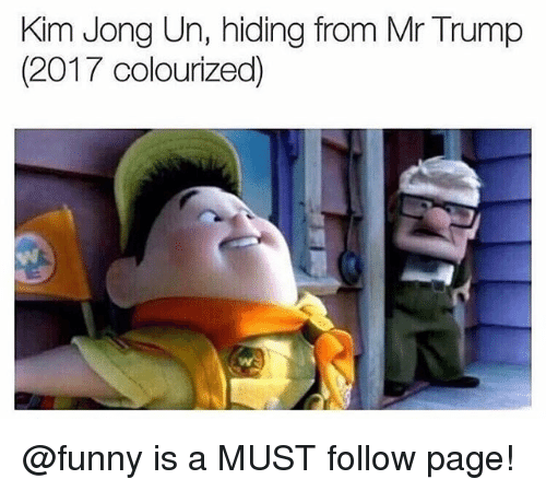 Funny, Kim Jong-Un, and Memes: Kim Jong Un, hiding from Mr Trump  (2017 colourized) @funny is a MUST follow page!