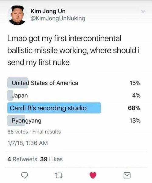 Recording: Kim Jong Un  @KimJongUnNuking  Lmao got my first intercontinental  ballistic missile working, where should i  send my first nuke  United States of America  15%  4%  Japan  Cardi B's recording studio  68%  13%  Pyongyang  68 votes Final results  1/7/18, 1:36 AM  4 Retweets 39 Likes