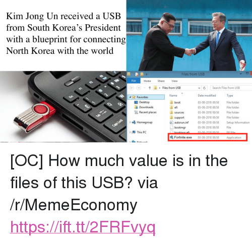 """Kim Jong-Un, North Korea, and Date: Kim Jong Un received a USB  from South Korea's President  with a blueprint for connecting  North Korea with the world  Files from USB  File  Home  Share  View  Files from USB  vSearch Files from USB  Date modified  03-08-2018 00:58 File folder  3-08-2018 00:58 File folder  03-08-2018 00:58 File folder  03-08-2018 00:58 File folder  Favorites  Name  Type  Desktop  Downloads  boot  efi  sources  Recent places  support  autorun.inf 03-08-2018 00.58 Setup Information  bootmgr03-08-2080058 File  b Homegroup  02-00 2019 00.50  FLE  Fortnīte.exe 03-08-2018 00:58 Application <p>[OC] How much value is in the files of this USB? via /r/MemeEconomy <a href=""""https://ift.tt/2FRFvyq"""">https://ift.tt/2FRFvyq</a></p>"""