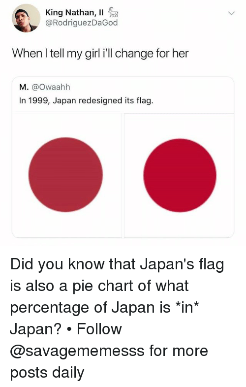 pie chart: King Nathan, 11  @RodriguezDaGod  When l tell my girl i'll change for her  M. @Owaahh  In 1999, Japan redesigned its flag. Did you know that Japan's flag is also a pie chart of what percentage of Japan is *in* Japan? • Follow @savagememesss for more posts daily