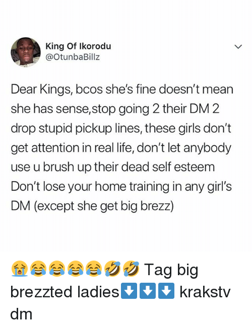 Girls, Life, and Memes: King Of Ikorodu  @OtunbaBillz  Dear Kings, bcos she's fine doesn't mean  she has sense,stop going 2 their DM 2  drop stupid pickup lines, these girls don't  get attention in real life, don't let anybody  use u brush up their dead self esteem  Don't lose your home training in any girl's  DM (except she get big brezz) 😭😂😂😂😂🤣🤣 Tag big brezzted ladies⬇️⬇️⬇️ krakstv dm