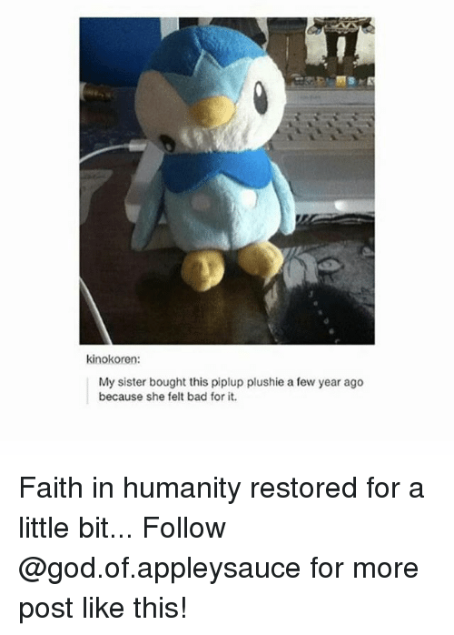 faith in humanity restored: kinokoren:  My sister bought this piplup plushie a few year ago  because she felt bad for it. Faith in humanity restored for a little bit... Follow @god.of.appleysauce for more post like this!