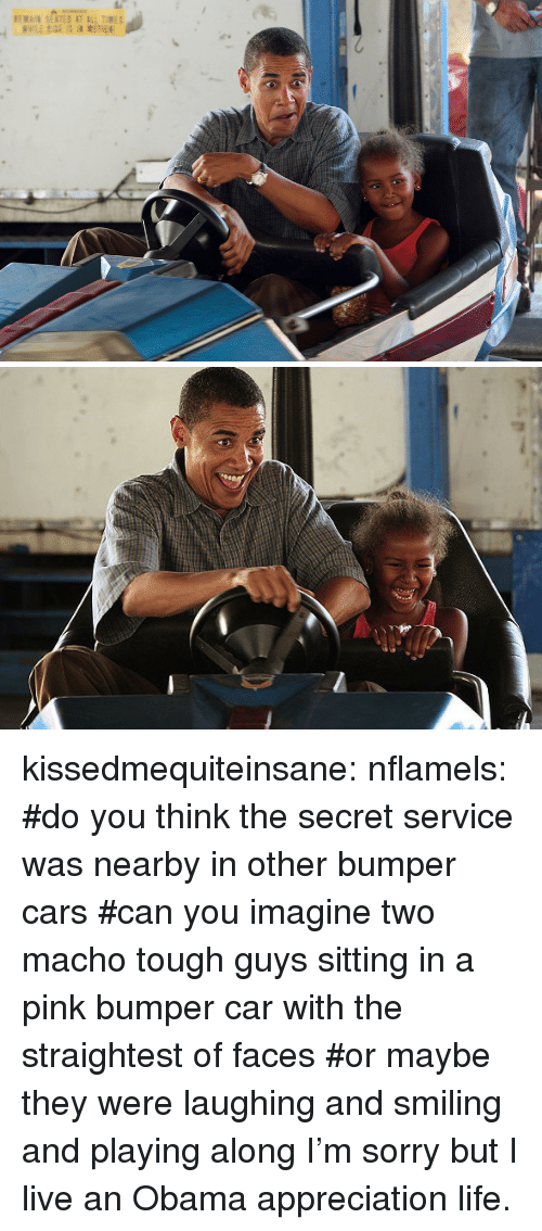 bumper cars: kissedmequiteinsane:  nflamels:  #do you think the secret service was nearby in other bumper cars#can you imagine two macho tough guys sitting in a pink bumper car with the straightest of faces#or maybe they were laughing and smiling and playing along  I'm sorry but I live an Obama appreciation life.