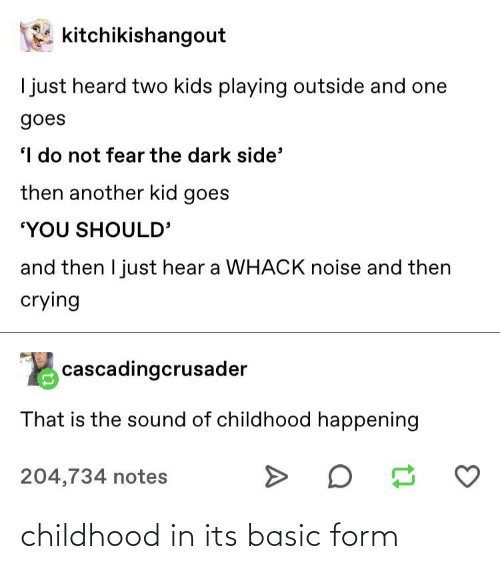 """Two Kids: kitchikishangout  I just heard two kids playing outside and one  goes  I do not fear the dark side'  then another kid goes  """"YOU SHOULD'  and then I just hear a WHACK noise and then  crying  cascadingcrusader  That is the sound of childhood happening  204,734 notes childhood in its basic form"""