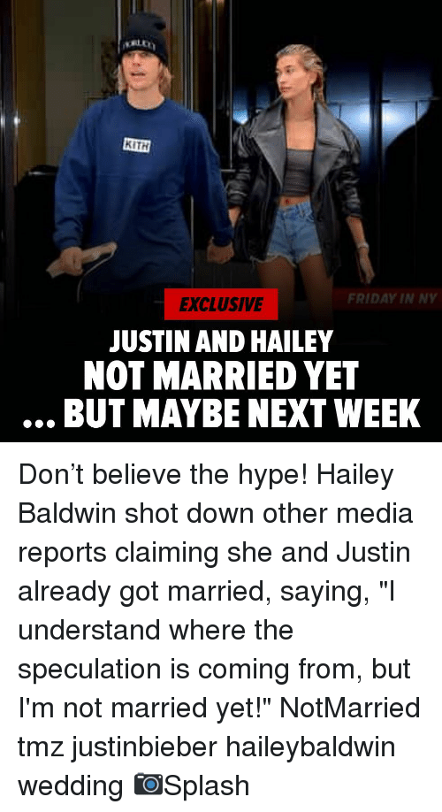 """Justinbieber: KITH  FRIDAY IN NY  EXCLUSIVE  JUSTIN AND HAILEY  NOT MARRIED YET  BUT MAYBE NEXT WEEK Don't believe the hype! Hailey Baldwin shot down other media reports claiming she and Justin already got married, saying, """"I understand where the speculation is coming from, but I'm not married yet!"""" NotMarried tmz justinbieber haileybaldwin wedding 📷Splash"""