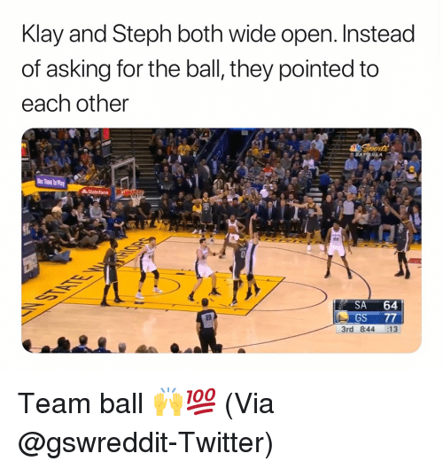 klay: Klay and Steph both wide open. Instead  of asking for the ball, they pointed to  each other  SA 64  GS 77  3rd 844 :13  29 Team ball 🙌💯 (Via @gswreddit-Twitter)