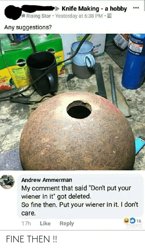 """dod: Knife Making - a hobby  Rising Star Yesterday at 6:38 PM · E  Any suggestions?  NE  STER  DE  ade  Dod  Andrew Ammerman  My comment that said """"Don't put your  wiener in it"""" got deleted.  So fine then. Put your wiener in it. I don't  care.  17h  Like  Reply  16  Pexelt FINE THEN !!"""