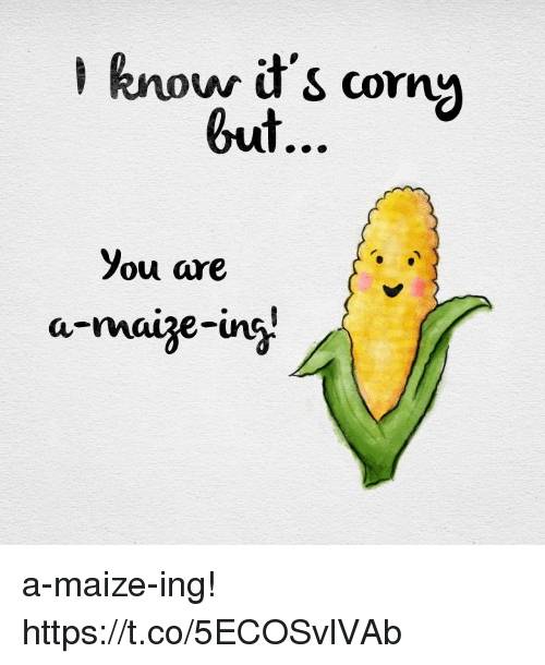 maize: know it's corn  but  you are a-maize-ing! https://t.co/5ECOSvlVAb