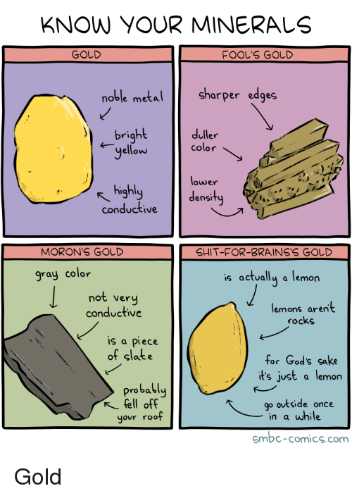 God, Shit, and Comics: KNOW YOUR MINERALS  GOLD  FOOL'S GOLD  oble meta  Sharper edges  bright  duller  yellow color  lower  density  highl  conductive  MORON'S GOD  SHIT-FOR-BRAINS'S GOしD  gray color  s actually a lemon  not very  conductive  lemons aren't  rocks  is a piece  of slate  for God's sake  it's just a lemon  probably  fell off  your roof  go outside once  in a while  smbc-comics.com Gold