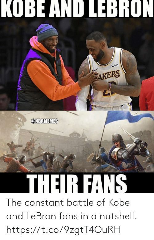 Akers: KOBE AND LEBRON  wish  AKERS  @NBAMEMES  THEIR FANS The constant battle of Kobe and LeBron fans in a nutshell. https://t.co/9zgtT4OuRH