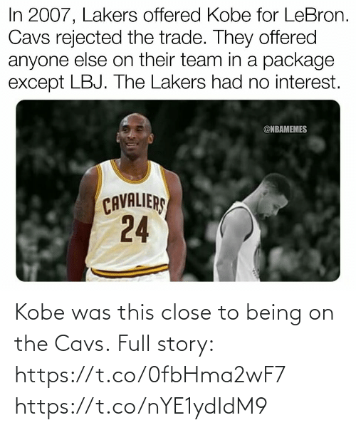 cavs: Kobe was this close to being on the Cavs.  Full story: https://t.co/0fbHma2wF7 https://t.co/nYE1ydIdM9