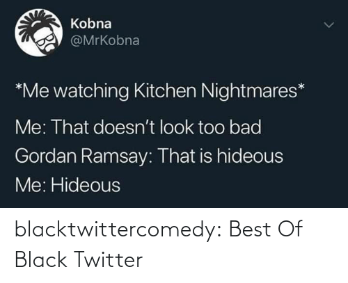 Me That: Kobna  @MrKobna  *Me watching Kitchen Nightmares*  Me: That doesn't look too bad  Gordan Ramsay: That is hideous  Me: Hideous blacktwittercomedy:  Best Of Black Twitter
