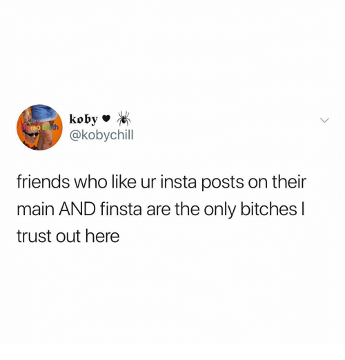 Friends, Memes, and 🤖: koby *  @kobychil  friends who like ur insta posts on their  main AND finsta are the only bitches l  trust out here